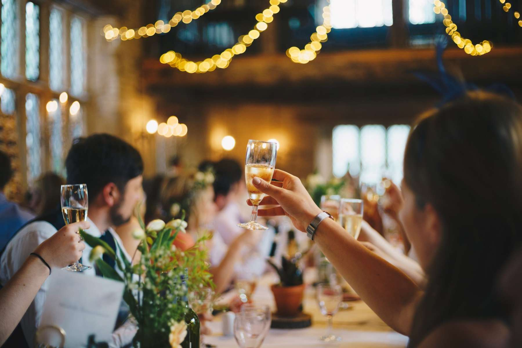 Cheers guests toasting the bride and groom wedding speeches
